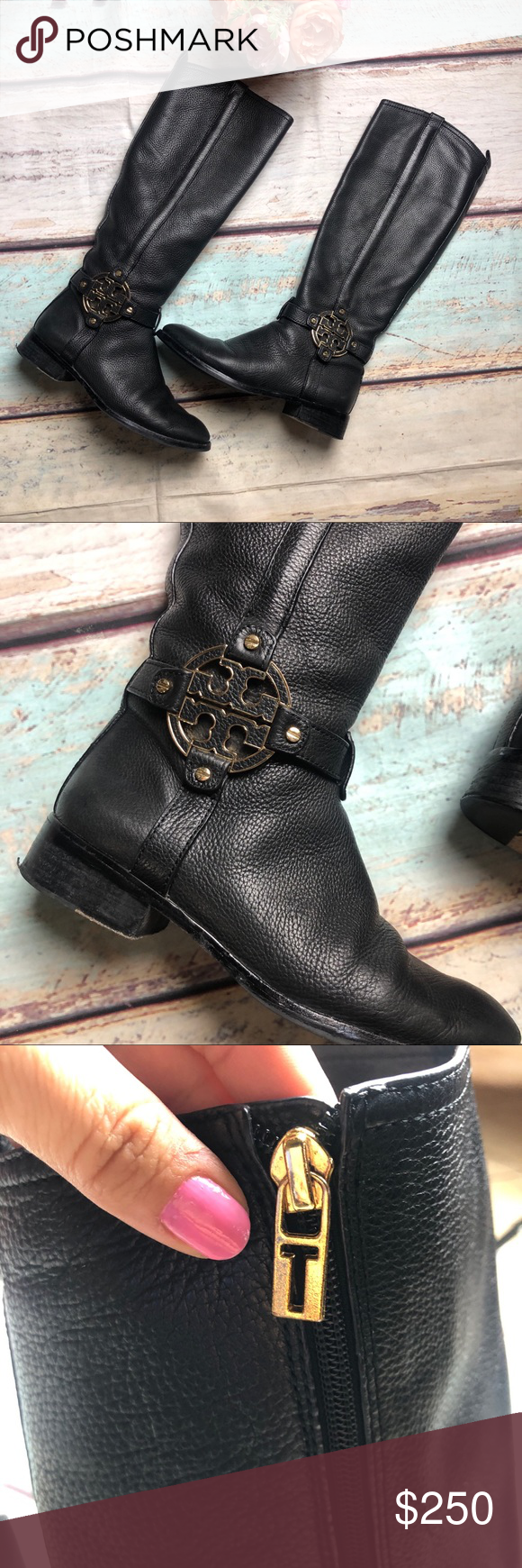 39c23b657fa0 Tory Burch Black leather Amanda Riding boots gold Tory Burch Size 8  Gorgeous Black Amanda Tumbled