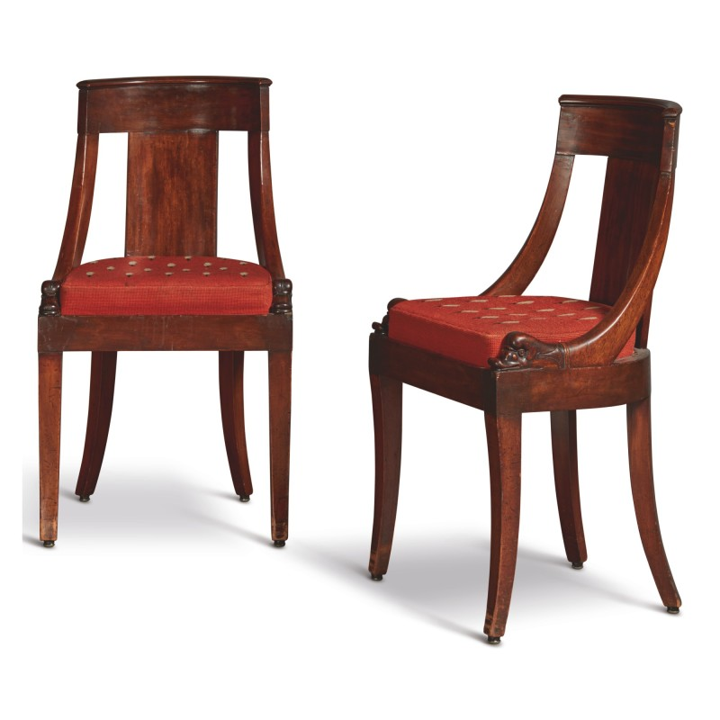 A Pair Of French Empire Mahogany Chaises En Gondole First Quarter 19th Century Mario Buatta Prince Of Interiors Sotheby S In 2020