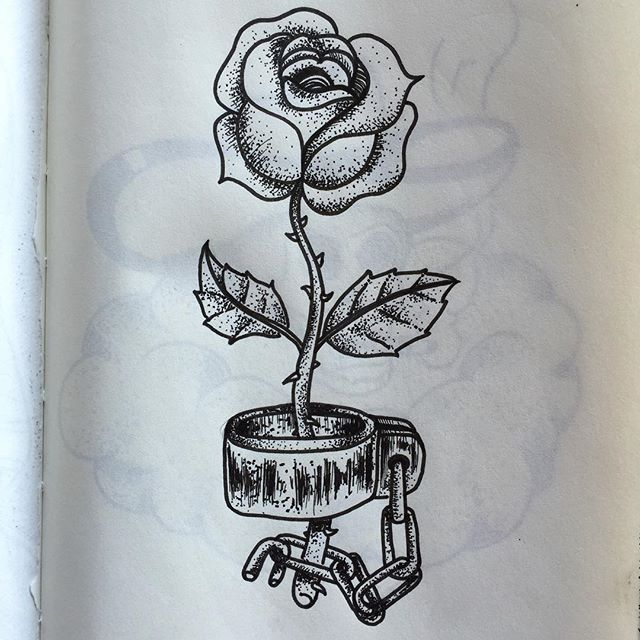 Rose Chaine Flower Chain Encre Ink Dessin