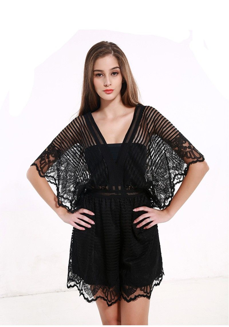 ed18cd0c2ce9 Sexy Deep V Neck Black Lace Elegant Jumpsuit Romper Summer Style Beach  Short Playsuit Women Guaze Boho Overalls  Dress  womenstyle