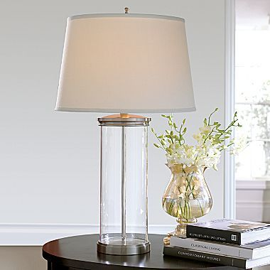 Cindy Crawford Style Glass Column Table Lamp 100 00 Lamp Glass Lamp Base Table Lamp