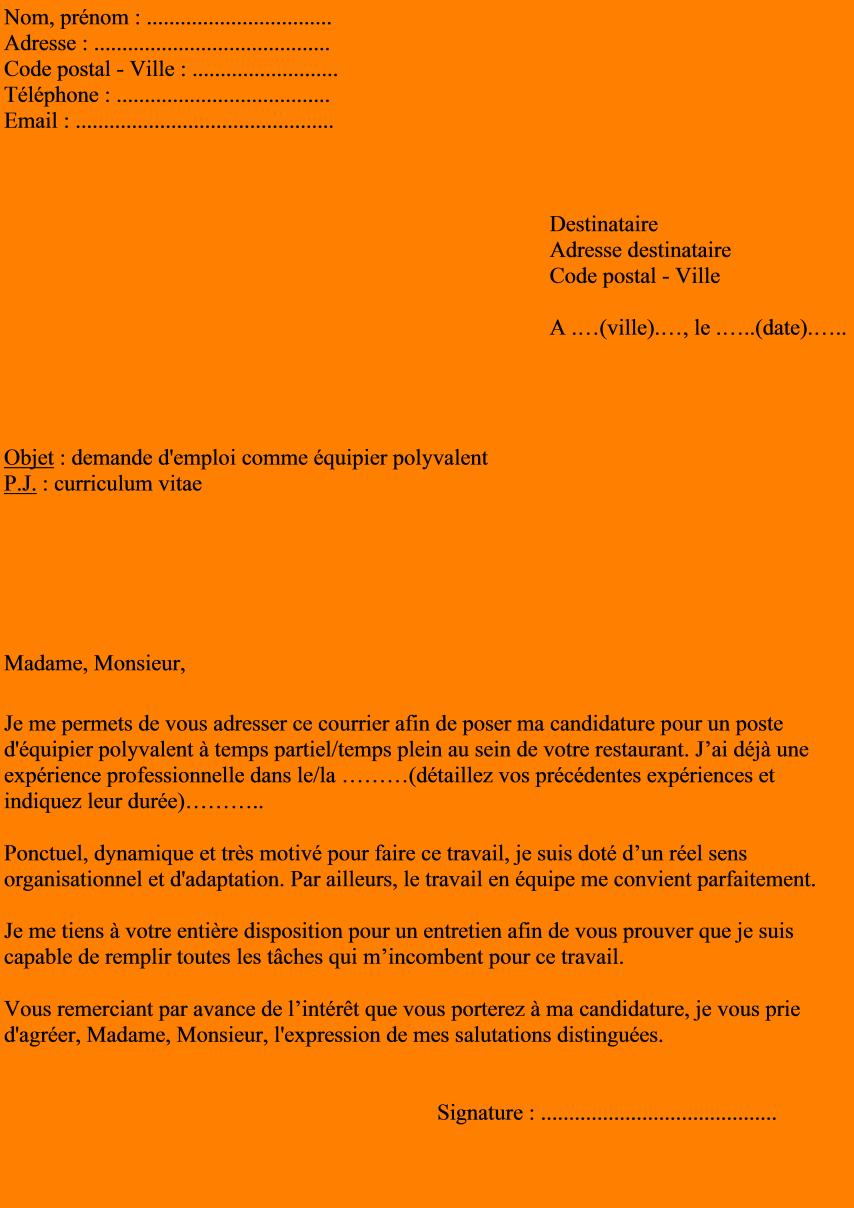 5 Lettre De Motivation Pour Macdonald Format Lettre
