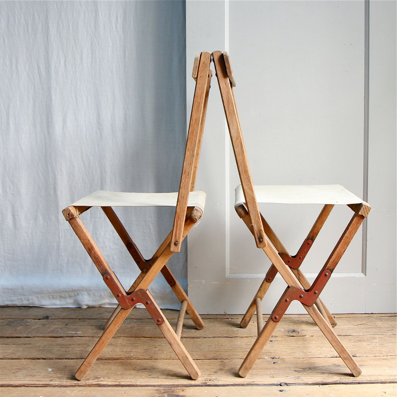 I Ll Take Two Vintage Rustic Folding Camp Chair Stool