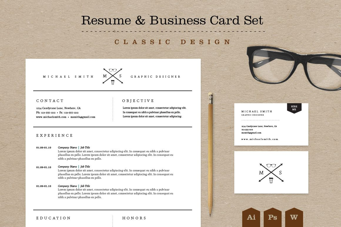 Classic Resume & Business Card Pack (With images