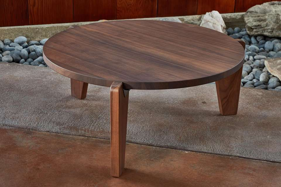 Jean Prouve Gueridon Bas Coffee Table In Walnut For Vitra Coffee
