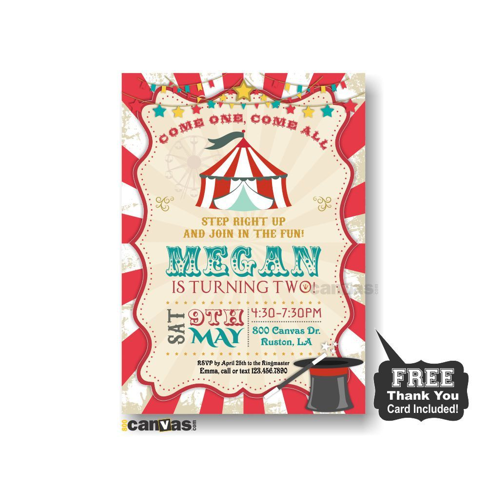Circus Birthday Invitation. Boy Girls Carnival Party Invite. Red Circus Tent Bu0027day  sc 1 st  Pinterest & Circus Birthday Invitation. Boy Girls Carnival Party Invite. Red ...