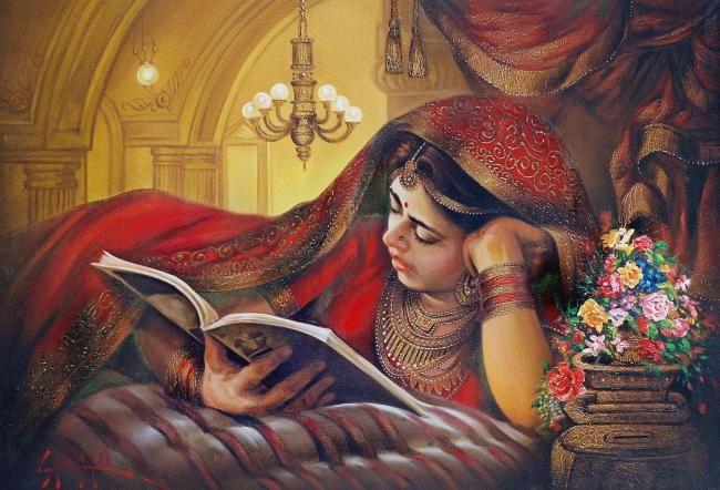 Painting By Laxman Kumar Artist Delhi India Artmajeur Indian Women Painting Classic Indian Women Painting Contemporary Portrait