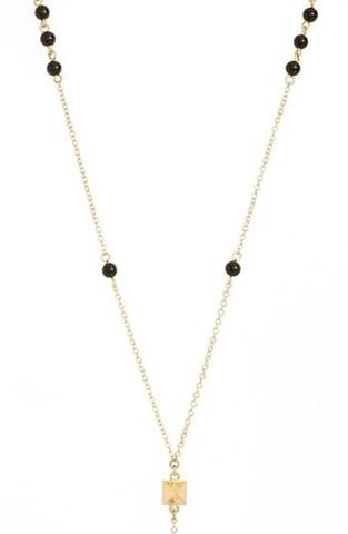 'Waiting in Line' Beaded Onyx Y-Chain Necklace