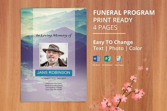 Printable Funeral Program Template, Memorial Program, Obituary