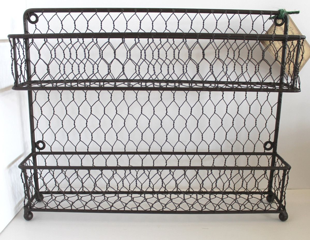 Rustic Modern French Chic Wall or Counter Iron and Wire Two-Tier ...