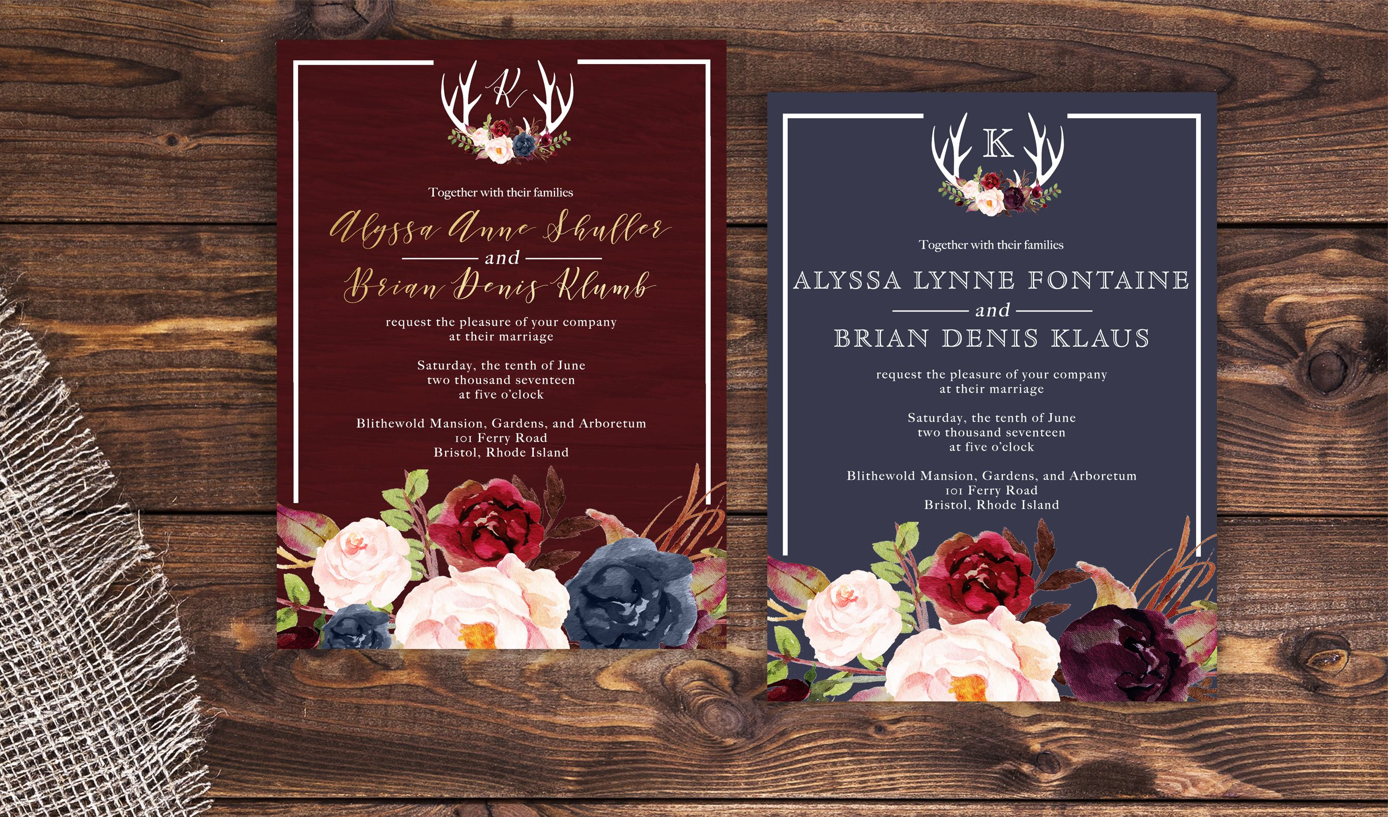 Outdoor Themed Wedding Invitations: Navy And Marsala Wedding Invitation. Rustic Wedding