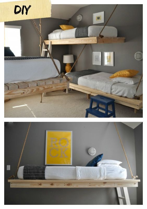 53 Incredible Hanging Beds To Float In Peace Floating Bed Diy Floating Bed Diy Bunk Bed