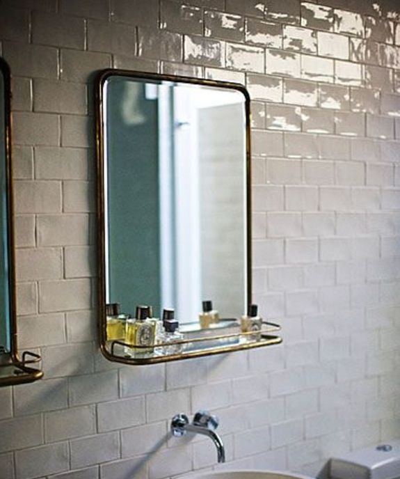 Bathroom Mirrors With Shelf the simple beauty of vintage metal mirrors | brass bathroom