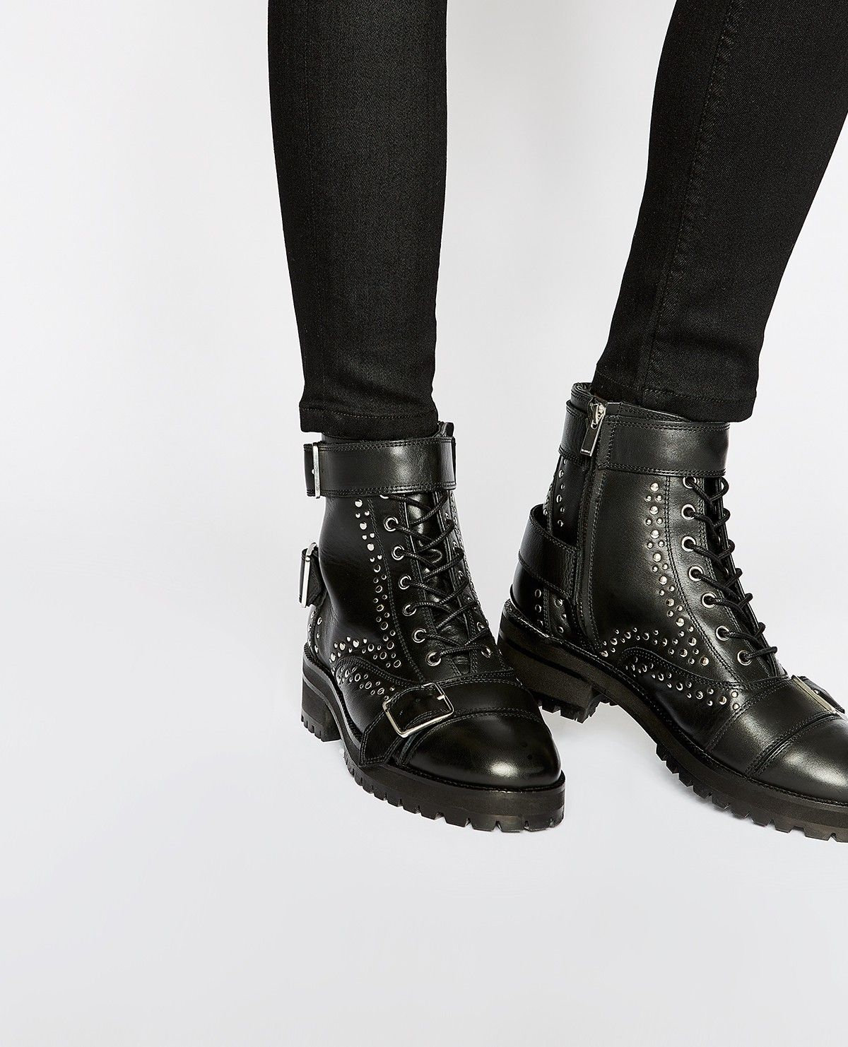 Black leather lace-up studded ankle