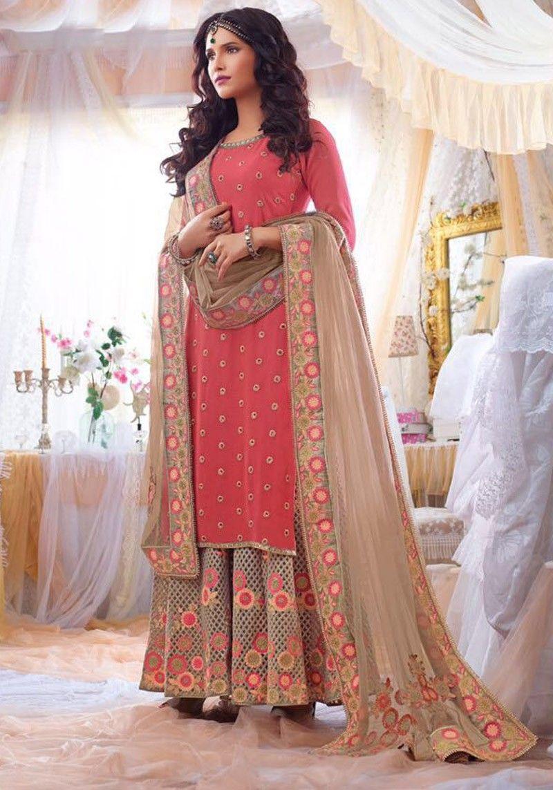 punjabi suits online PINK LATEST PARTY WEAR PANJABI KAMIZ WITH ...