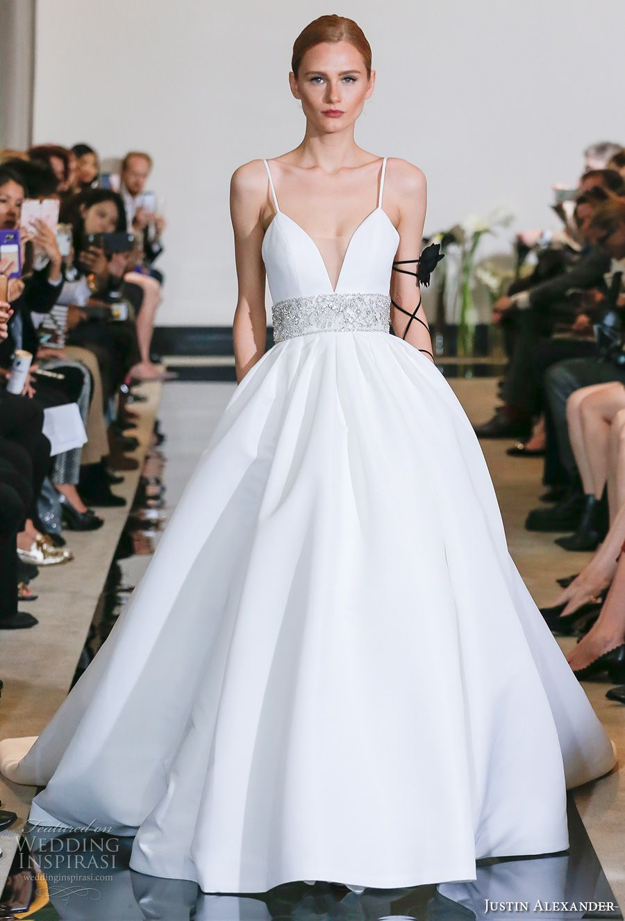 Justin Alexander Spring 2018 Bridal Spagetti Strap Deep Plunging Sweetheart Neckline Simple Clean Embellished Belt Ball Gown Wedding Dress Chapel Train 06