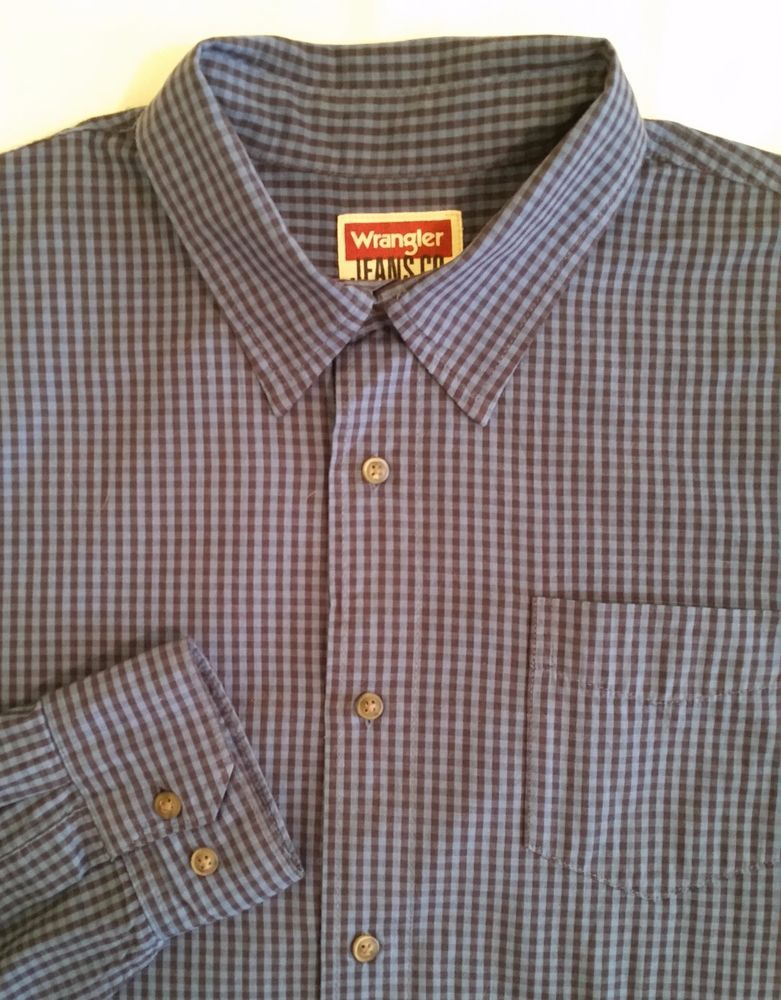 WRANGLER JEANS CO. Premium Quality LONG SLEEVE Button Front Casual Shirt szXL #WRANGLERJEANSCO…