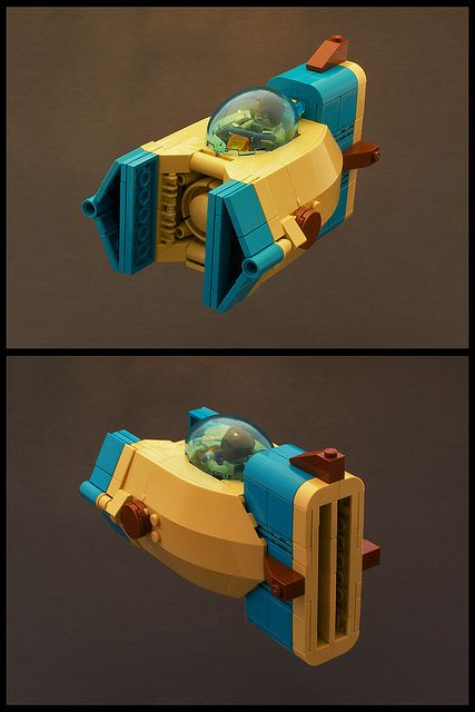 I love my light blue canopies and turquoise parts :) I was going for a slightly different look than the conventional VV look. I wanted something a bit more portly. While it doesn't have very strong forward guns, it can shoot toast, waffles, and pop-tarts out the rear engines.