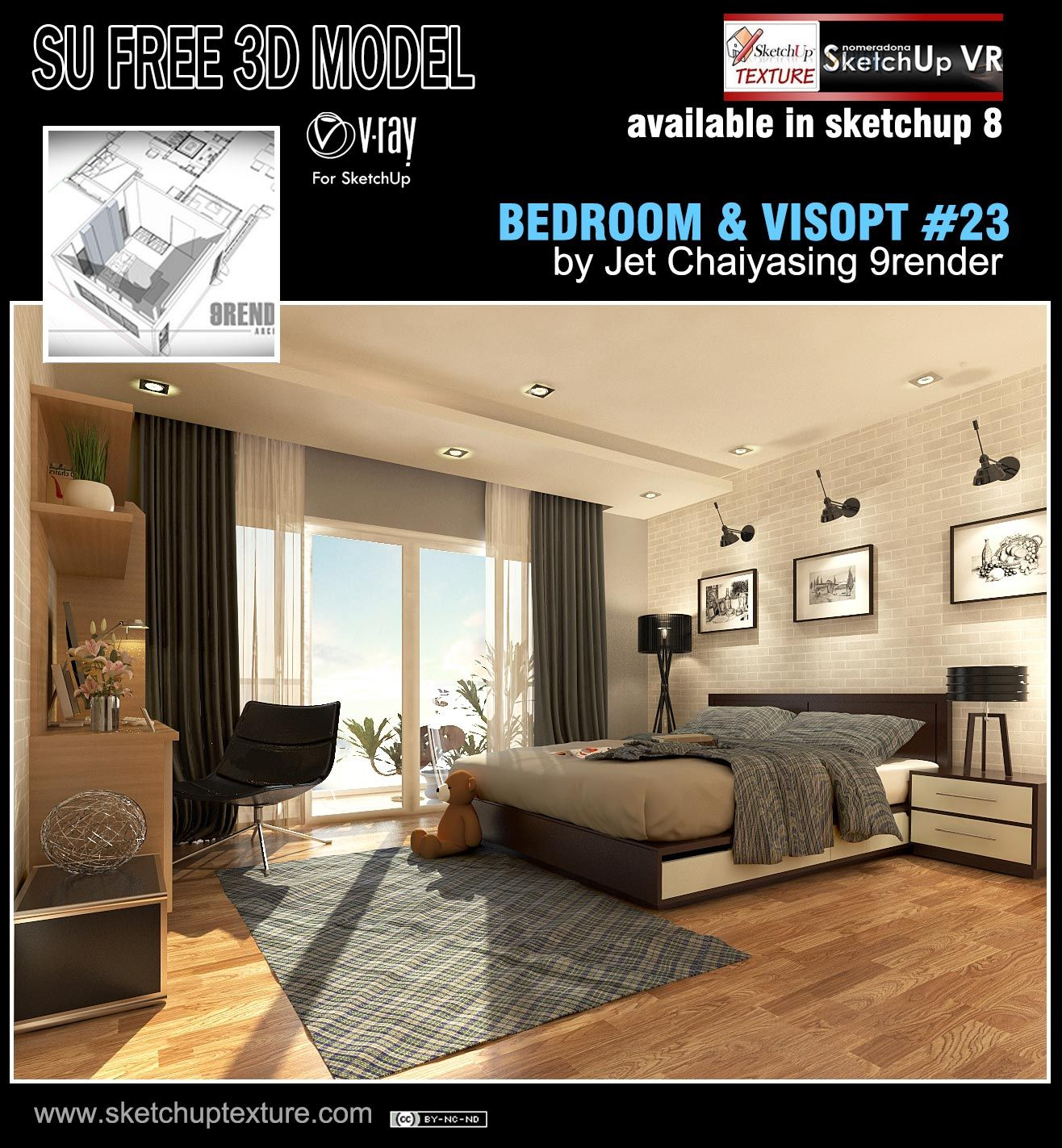 Free Sketchup Vray Visopt And 3d Model Bedroom 31 Shared By 9render Read More Http Www Sketchuptexture Com Bedroom Bed Design Sketchup Model Bed Design