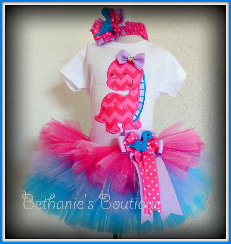 4ebceb467 Pink dinosaur birthday outfit - girls dinosaur tutu outfit - 1st ...
