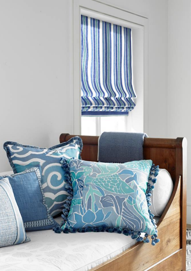 Nautical stripes on Roman shade, guest room?