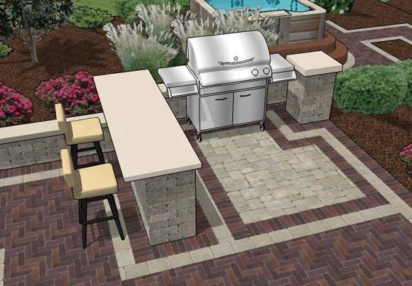 Paver Patio Designs With Bar Outdoor