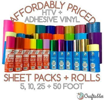 Affordably Priced And Packaged With Care Craftables Vinyl Rolls And Sheets 5 10 25 And 50 Roll Options Cricut Supplies Cricut Tutorials Cricut Vinyl
