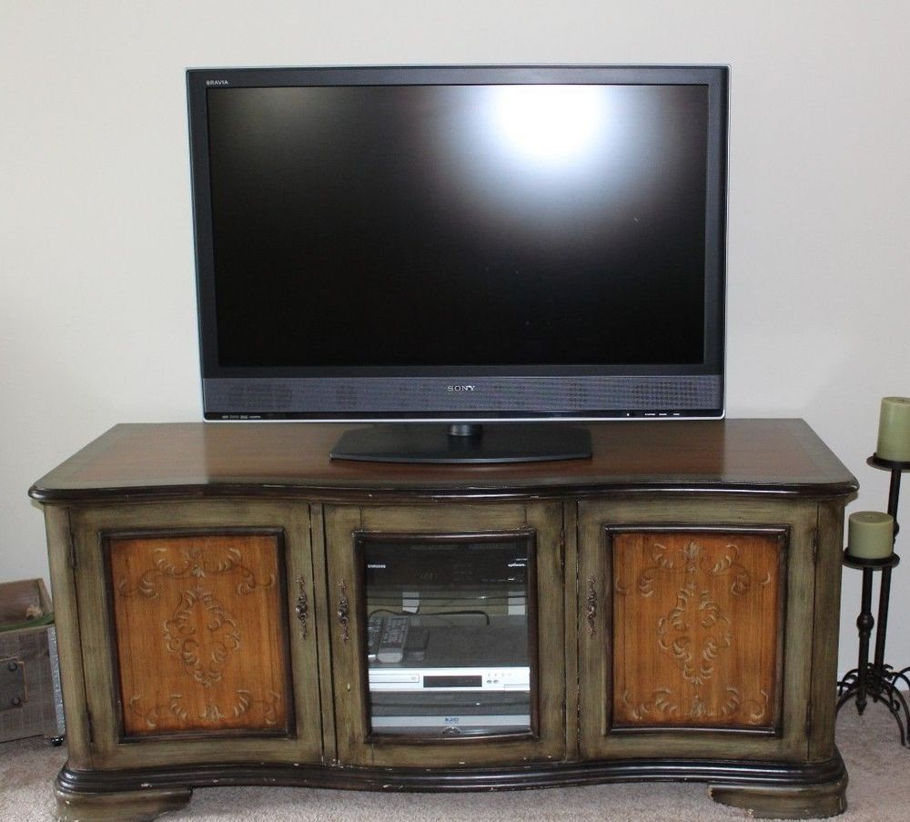 Solid Wood Tv Stand Media Cabinet Storage Console Two Tone With