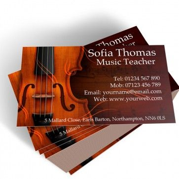 Templated Business Card Music Teacher 2 Personalised Business