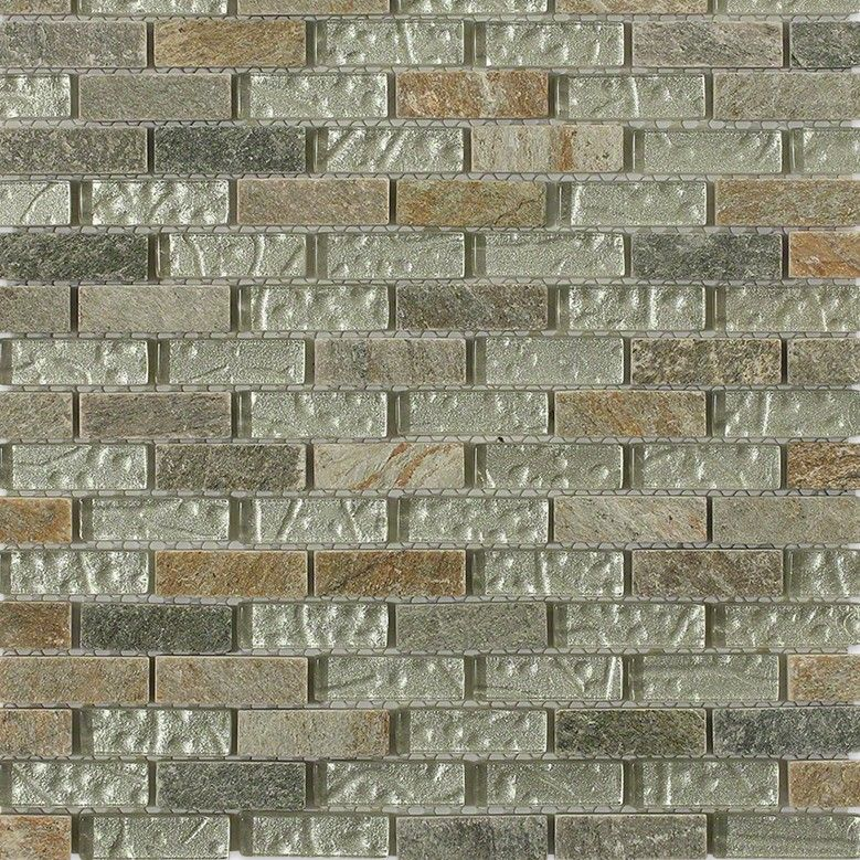 Shop 12x12 Geological Brick Mosaic In Frosted Green Quartz Slate And Polished White Gold Glass At Tilebar Com Brick Pattern Tile Brick Patterns Pearl Tile