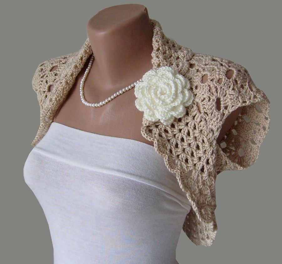 Crochet Lace Wedding Garter Pattern: Bridal Shrug, Crochet Lace Wedding Bolero Jacket