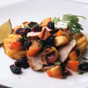 Absolutely a must-do this summer: Grilled Chicken & Polenta with Nectarine-Blackberry Salsa Recipe
