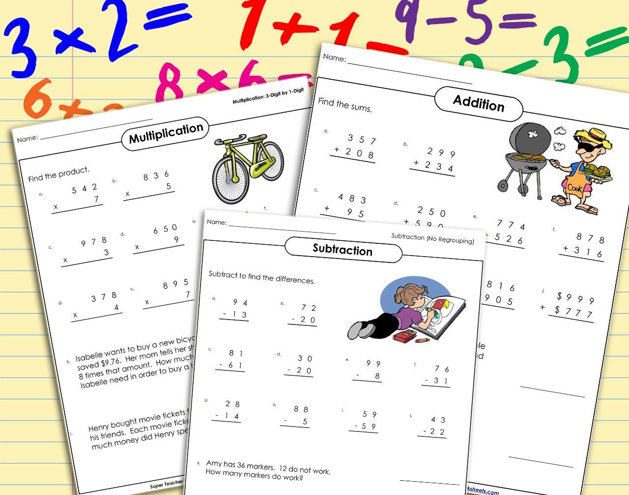 Practice Makes Perfect Reinforce Basic Mathskills With Resources From Superteacherworksheets You Super Teacher Worksheets Math Worksheets Funny Teacher Tee