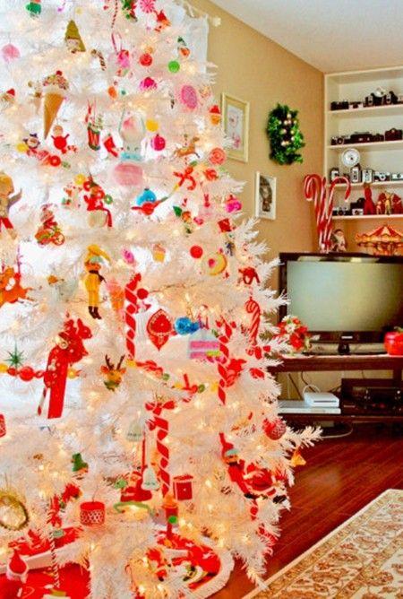 2014 White Christmas Tree Decorating Ideas Funny Christmas tree Decoration Ideas with red ornaments in 2014 & 2013 White Christmas Tree Decorating Ideas www.loveitsomuch.com ...