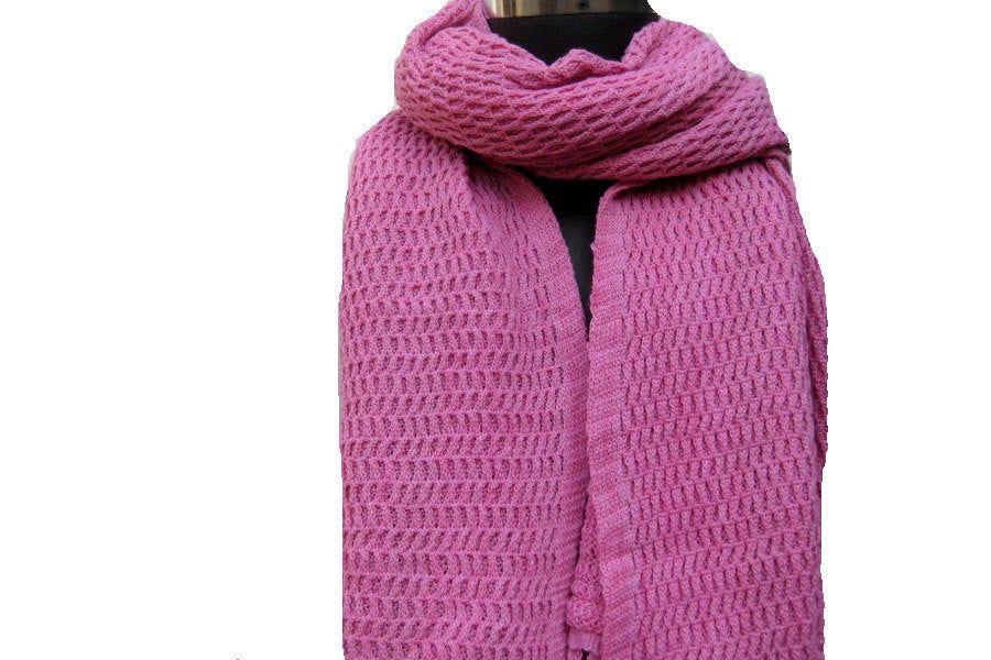 Photo of Knitted scarf/knit scarf/ scarf/ muffler/ unisex scarf/ pink muffler/ woolen muffler/stole/ gift scarf/gift item.