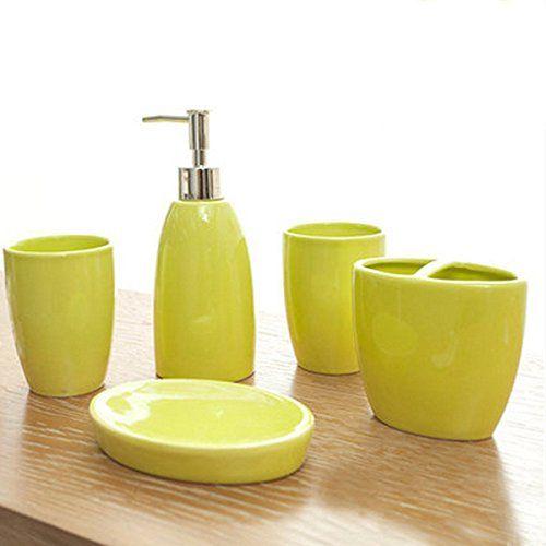 LOHOME Bathroom Accessory Set Simple Ceramic Soap Dish Dispenser Toothbrush Holder Tumbler Buds