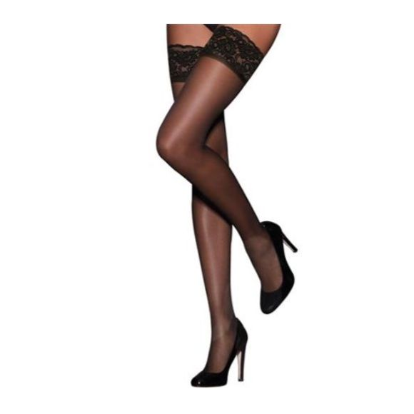 Thigh high black lace socks NWOT NWOT Has elastic on the top at the lace to keep the stocking up! Brand new never worn! Accessories Hosiery & Socks