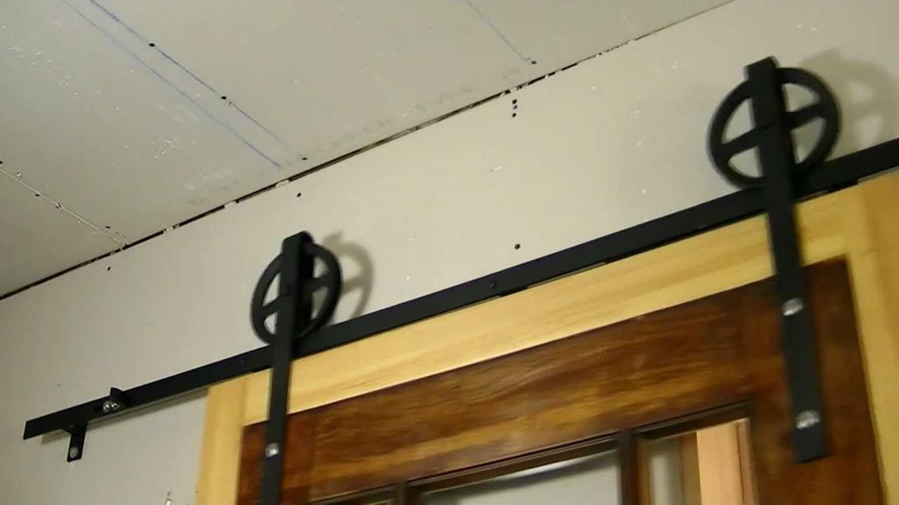Custom interior flat track sliding barn door diy barn for Interior sliding door track system