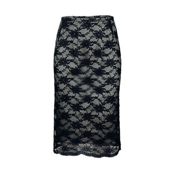 Oli - Lace Look Skirt ❤ liked on Polyvore featuring skirts, black, black lace skirt, lace skirt, lacy skirt, black skirt et black knee length skirt