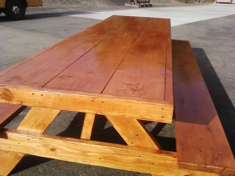 8ft Wrapped Over Sized, Douglas Fir Picnic Table With Clear Polyurethane.  $625 Call Steve