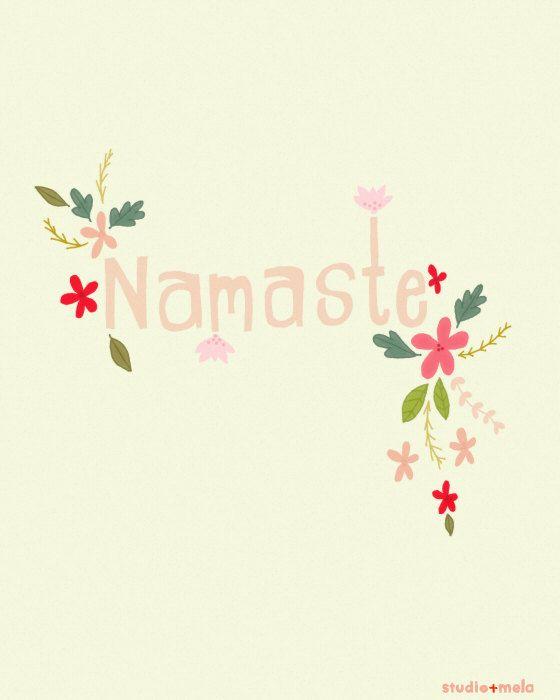 Digital Illustration Print - Namaste Yoga - typography art, illustration yoga print, quote art, yoga art - NAMASTE