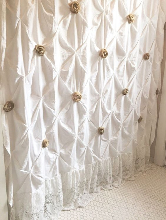 White Shower Curtain With Ruffles Custom Pin Tuck Shabby Chic