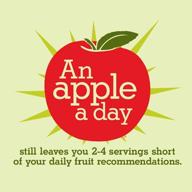 An apple a day still leaves you 2-4 servings short of your daily fruit recommendations.
