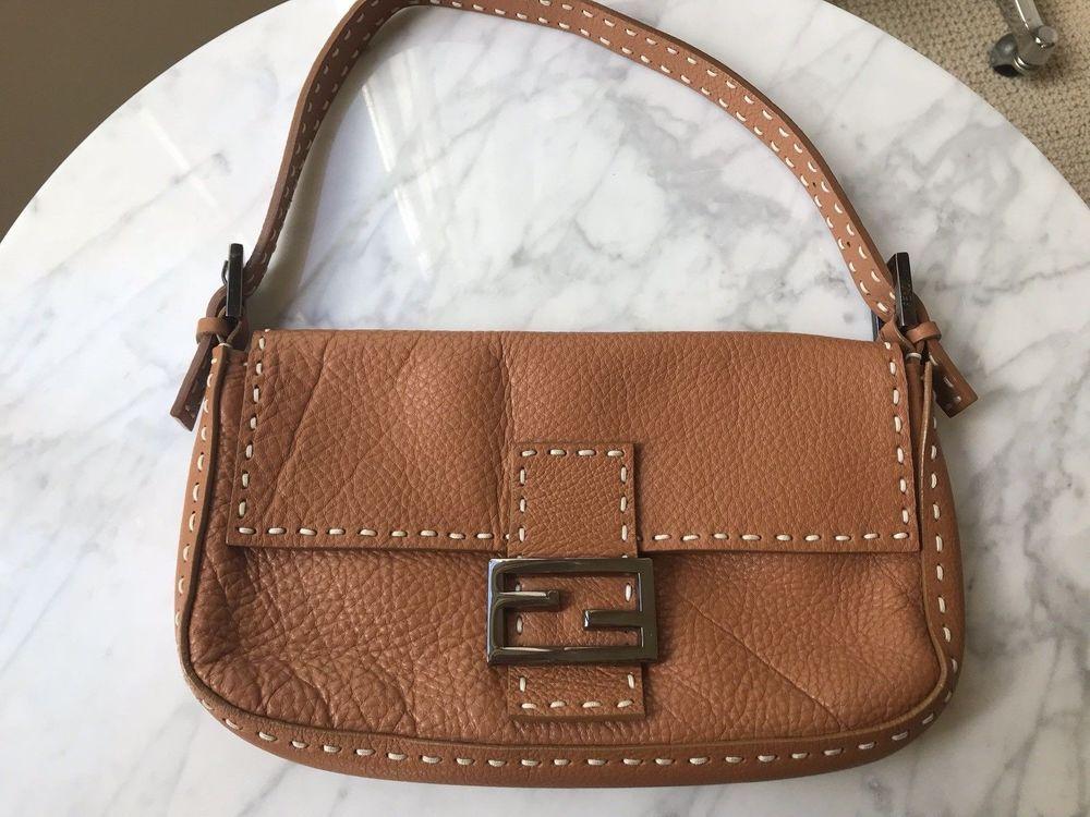 3422ca02acf8 Fendi Handbag Selleria Roma Italia Italy Numbered Shoulder Bag Pebbled  Leather