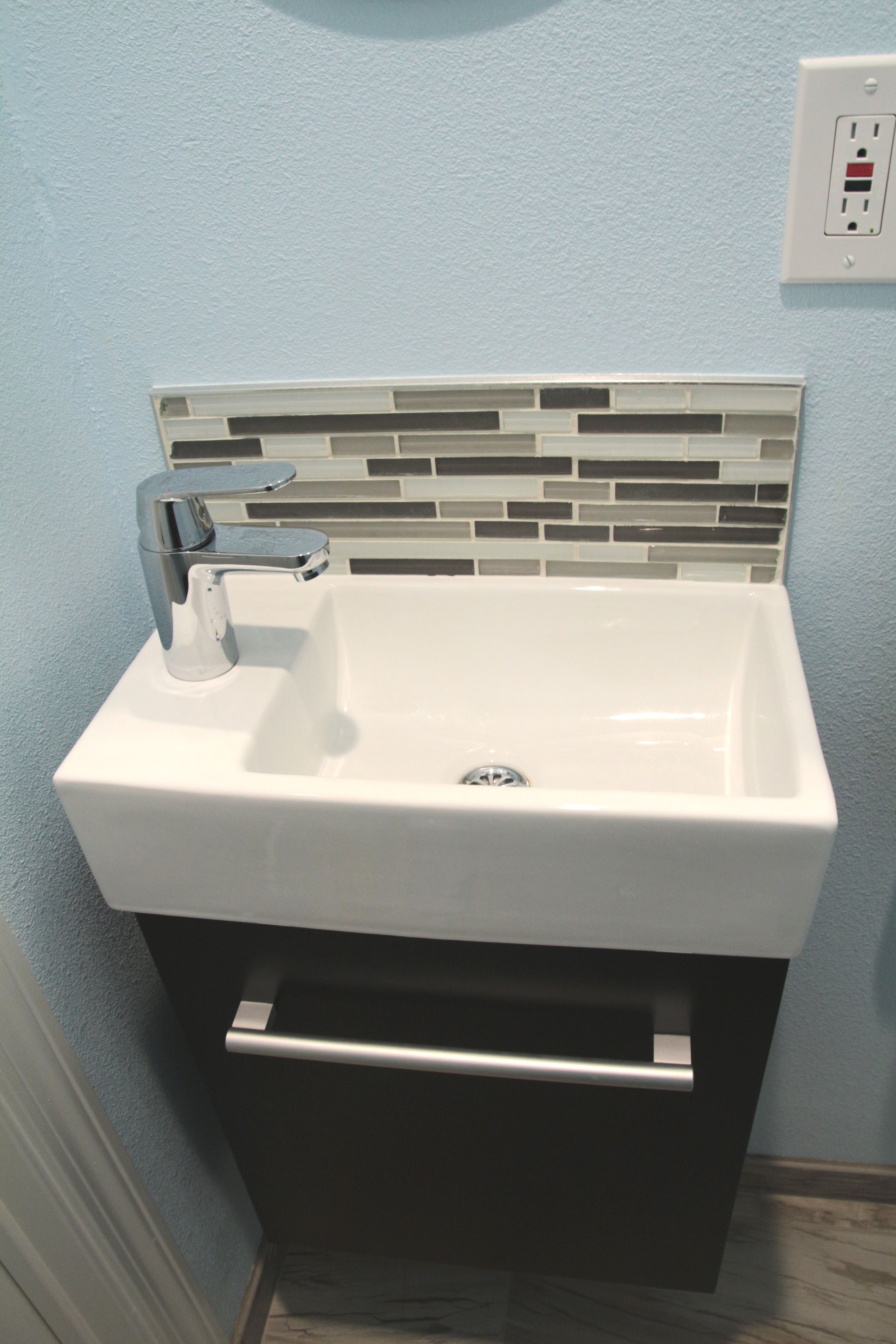 Small Bath Under Stairs. Floating Sink Vanity. Bought From Best