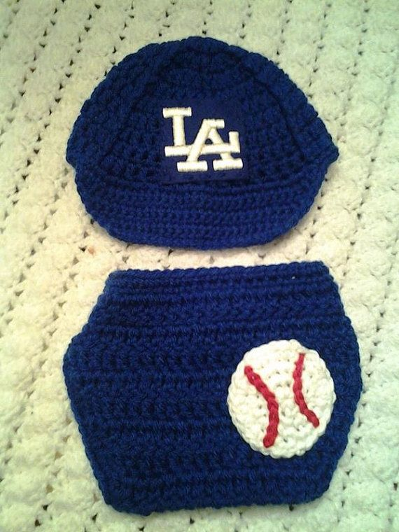622a08417c0 L.A. Dodger inspired Baby Crochet baseball hat set photography props ...