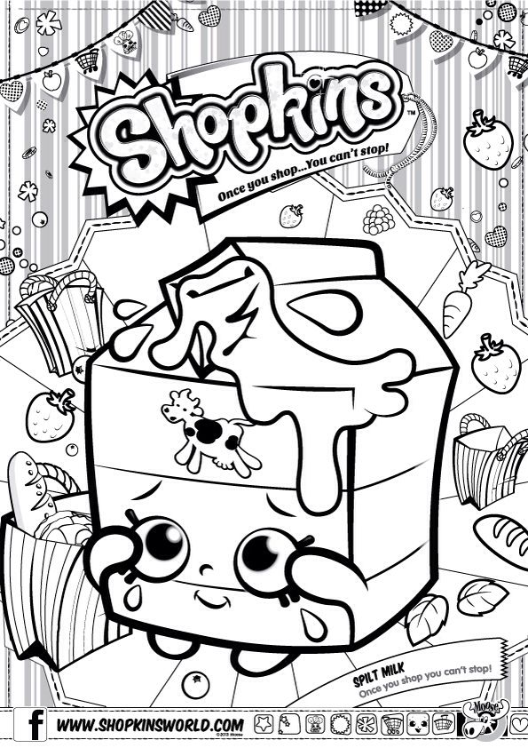 Shopkins Colour Color Page Spilt Milk Shopkinsworld Shopkins Colouring Pages Shopkin Coloring Pages Shopkins