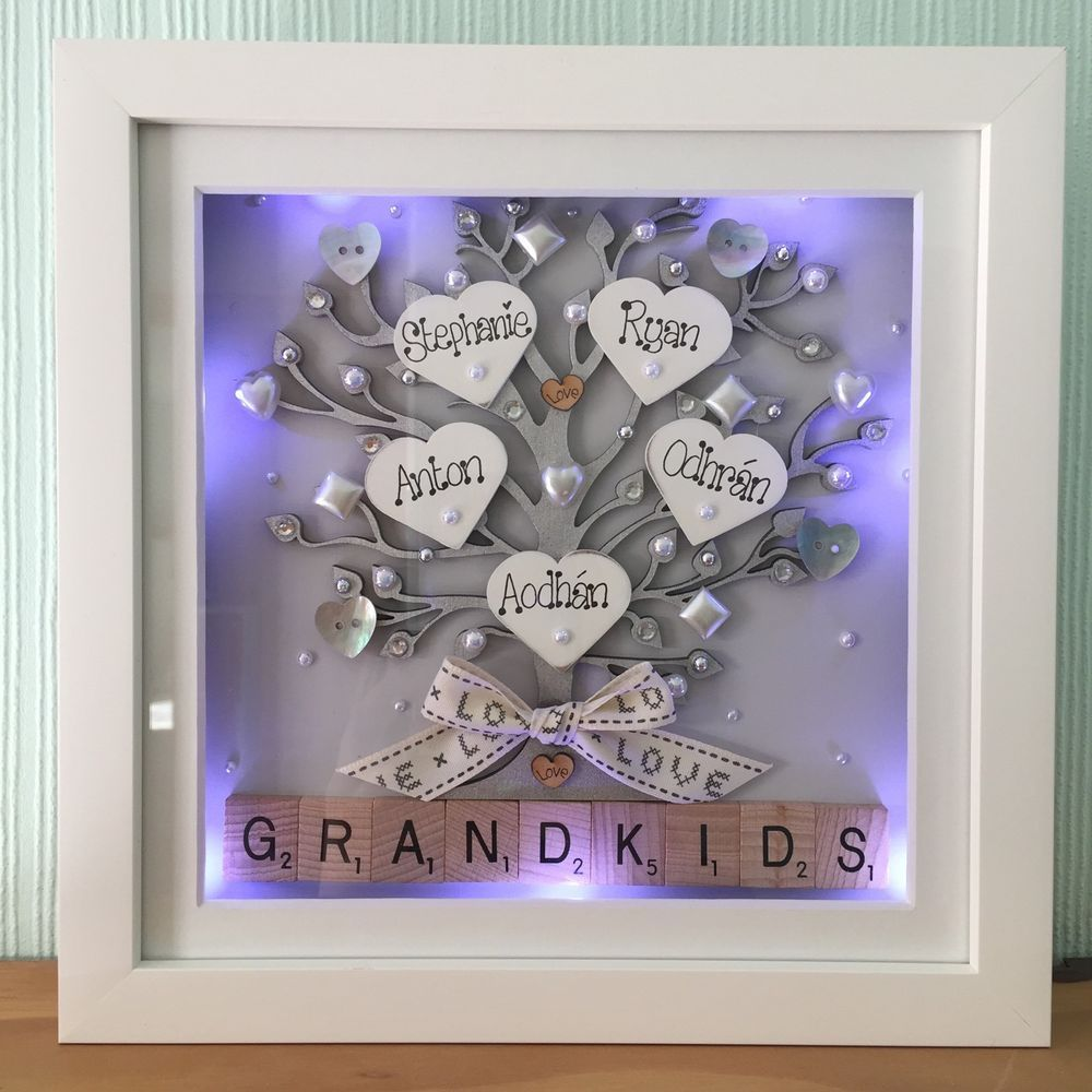 Personalised led lights deep box frame family tree gift nana personalised led lights deep box frame family tree gift nana grandkids scrabble jeuxipadfo Images