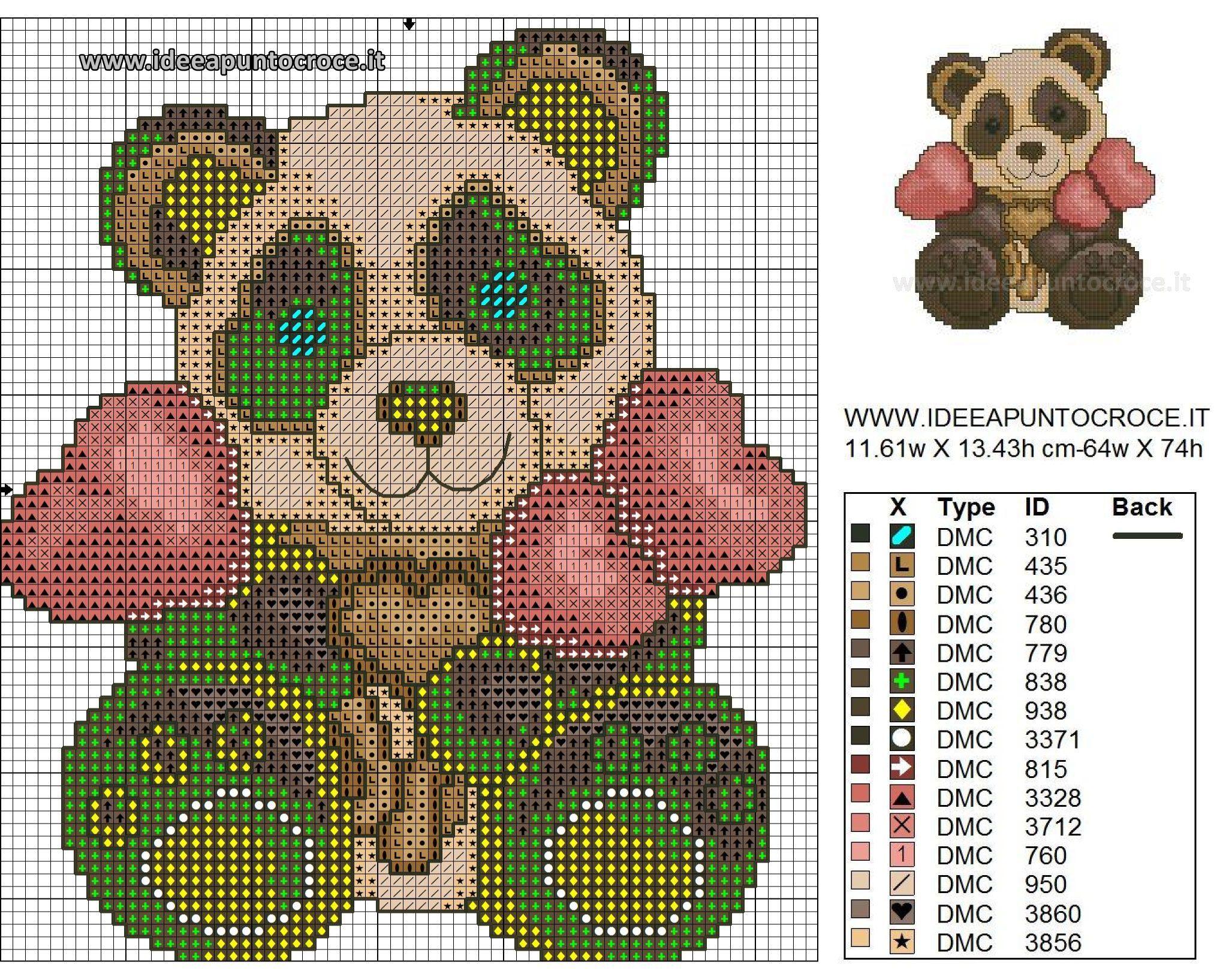 Panda thun 2017 schema punto croce animali baby 6 - Panda thun 2017 ...