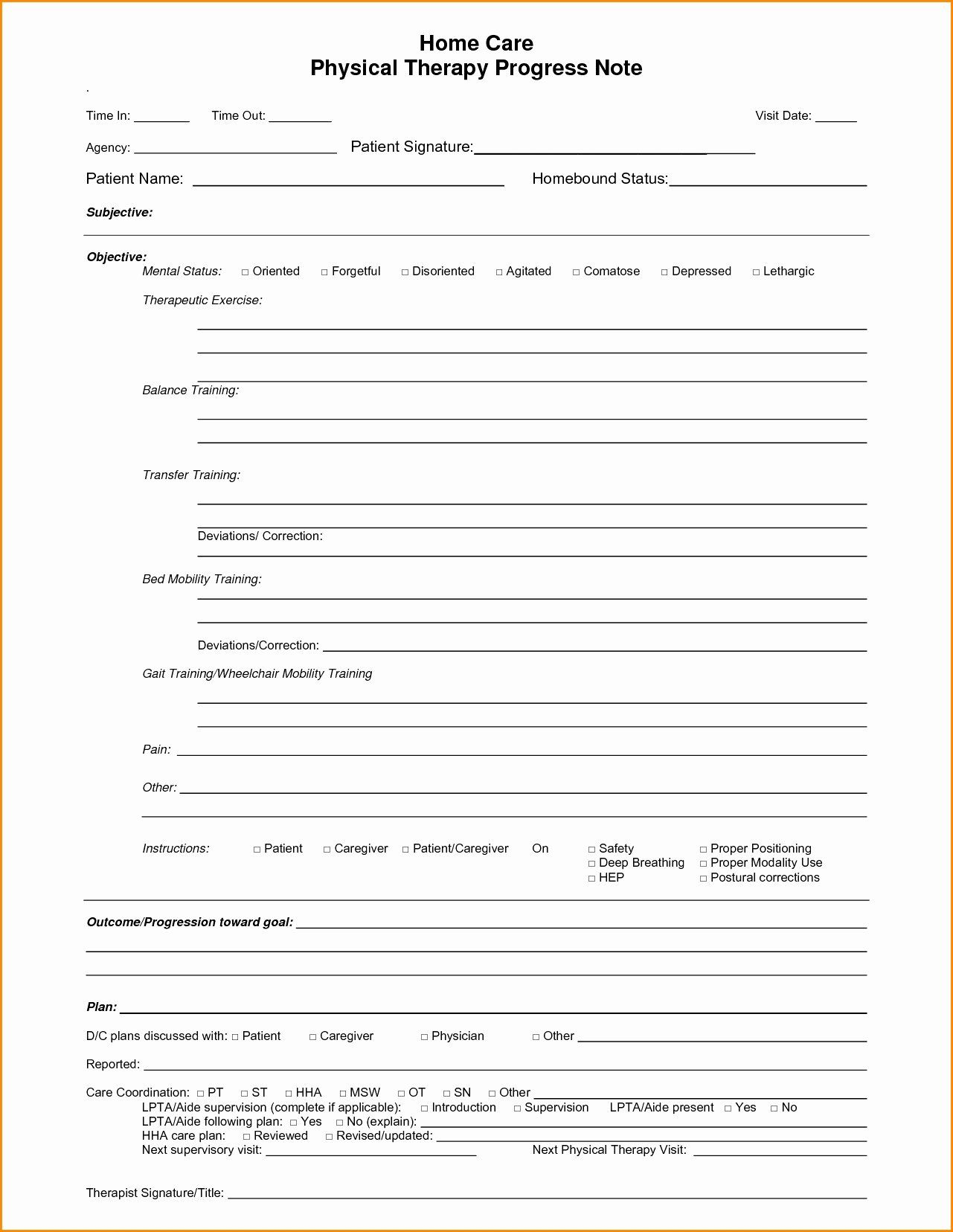 Physical Therapy Progress Note Template In 2020 With Images